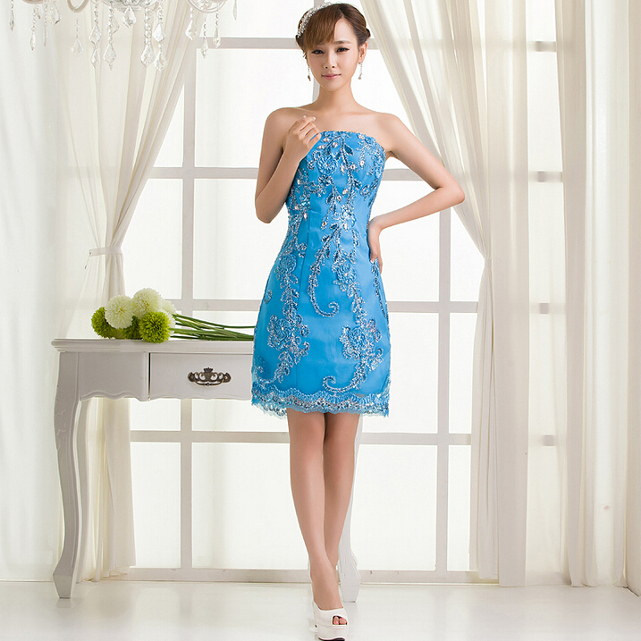 Short light blue sleeveless lace sexy adult bridesmaid for Formal dress for wedding guests