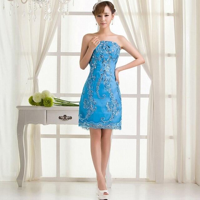 Short Light Blue Sleeveless Lace Sexy Adult Bridesmaid Formal Dress
