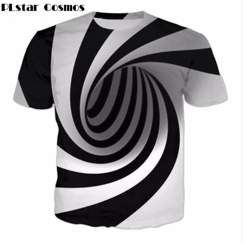 PLstar Cosmos Schwarz Und Weiß Schwindel Hypnotischen Druck T-shirt Unisxe Lustige kurzarm T-stücke sommer casual 3D T-shirt tops