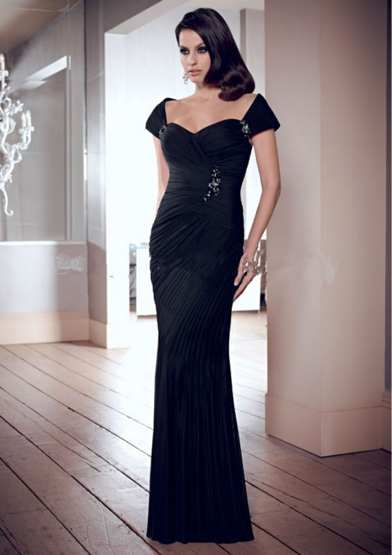 2018 New Custom Made Robe De Soiree Robe De Soiree Pleat Cap Sleeve Sexy Black Evening Prom Gown Mother Of The Bride Dresses
