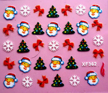 waterproof Water Transfer Nails Art Sticker Beautiful 3D Christmas design girl and women manicure tools Nail Wraps Decals  XF362