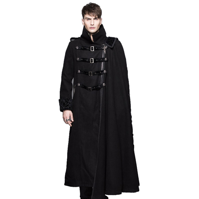 Дьявол, Готическая мода стимпанк шаль длинное толстое пальто ветровка мужской порт ветер высокий воротник черный толстое пальто съемный зи