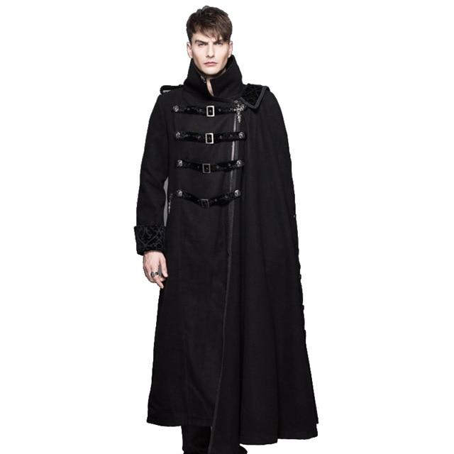 악마 패션 고딕 Steampunk 목도리 긴 두꺼운 코트 윈드 서퍼 남성 포트 바람 높은 칼라 검정 두꺼운 코트 분리형 겨울