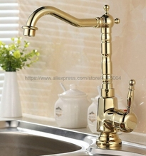 Polished Gold Color Single Handle Kitchen Tap Single Hole Handle Swivel 360 Degree Water Mixer Tap Mixer Tap Ngf058 стоимость