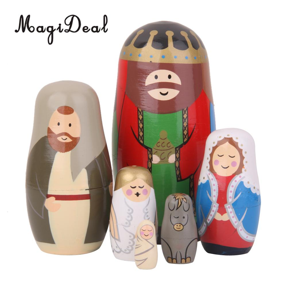 MagiDeal HIgh Quality 4 Kinds Hand Painted Hooded Beauty Wooden Russian Nesting Dolls House Dec for Girls Cute Toy Birthday Gift