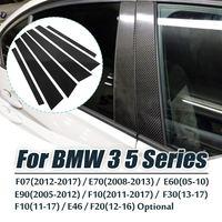 Carbon Fiber Car Window B pillars Molding Trim Stickers Cover For BMW 3 5 Series E90 F30 F10 E60 E70 E46 F07 2005 2017