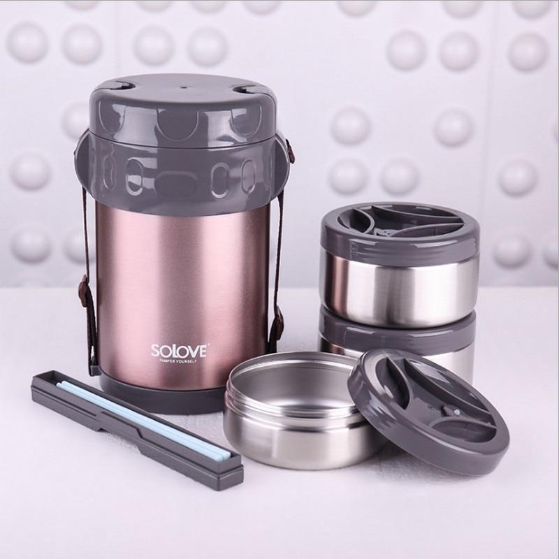 2Л термо Ланч бокс из нержавеющей стали, высокое качество, изолированная сумка холодильник для обеда, вакуумный контейнер для еды, Ланчбокс - 2