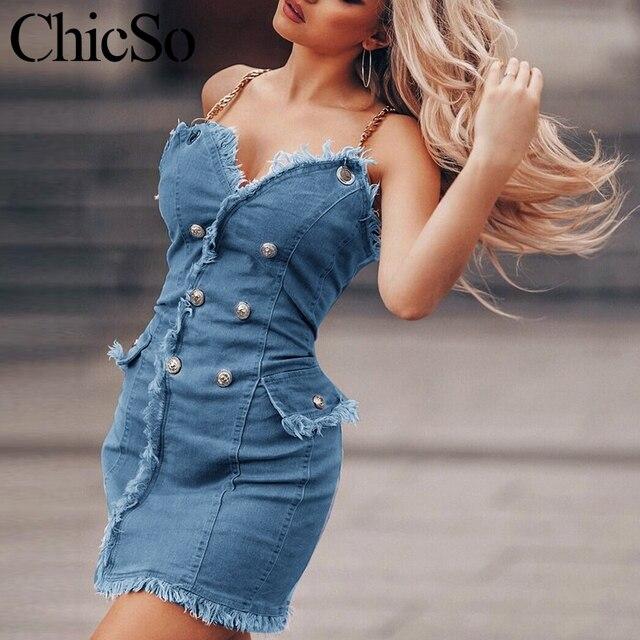 MissyChilli سلسلة الدنيم bodycon فستان أزرق صغير المرأة شرابة جان فستان قصير الصيف مثير ملابس الشارع الشهير فستان حفلة الشاطئ festa