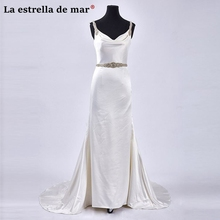 Vestidos de noiva 2018 new satin crystal sexy mermaid ivory wedding dress long pretty trouwjurk hot bruijsjurken