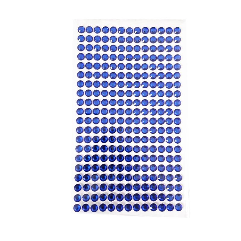 6mm 260pcs/set Kids Toy Rhinestone Stickers Acrylic Deep Blue Crystal Self Adhesive Diamond Frame Laptop Decoration Flat Sticker