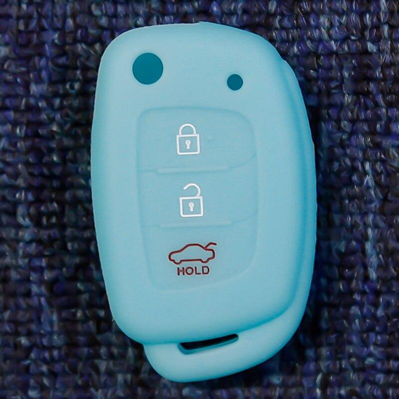 3 кнопки силиконовый автомобильный чехол для дистанционного ключа Защитная крышка для hyundai Creta I10 I20 Tucson Elantra - Название цвета: LB