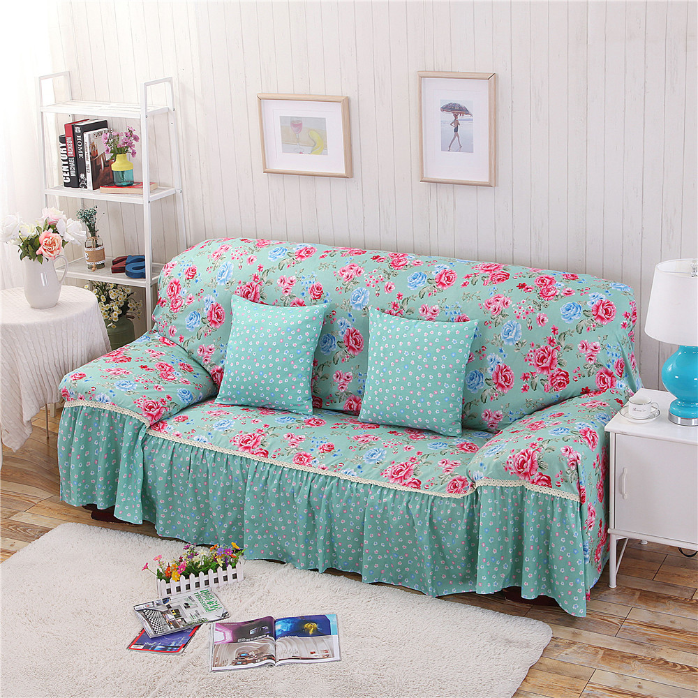 Cotton/Polyester Modern Plaid Sofa Towel Flower Floral