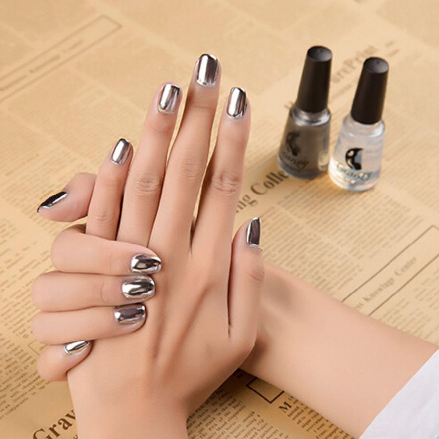Caliente mejor oferta espejo Esmaltes de uñas cola de plata color de ...