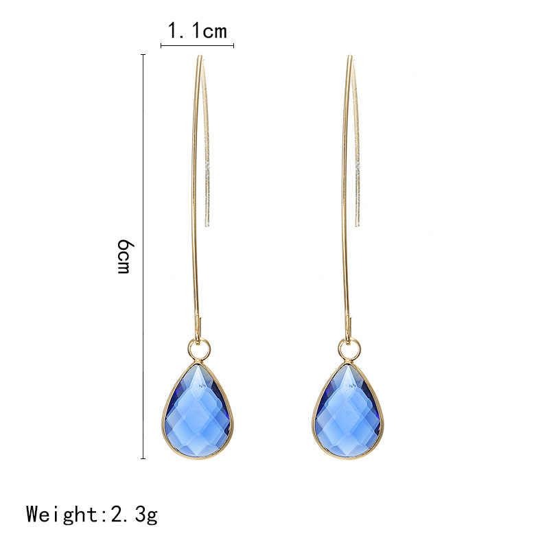 SexeMara nuevos pendientes largos de línea de caída únicos para mujer Color oro rosa 2 quilates AAA + joyería de cristal de circón cúbico venta al por mayor