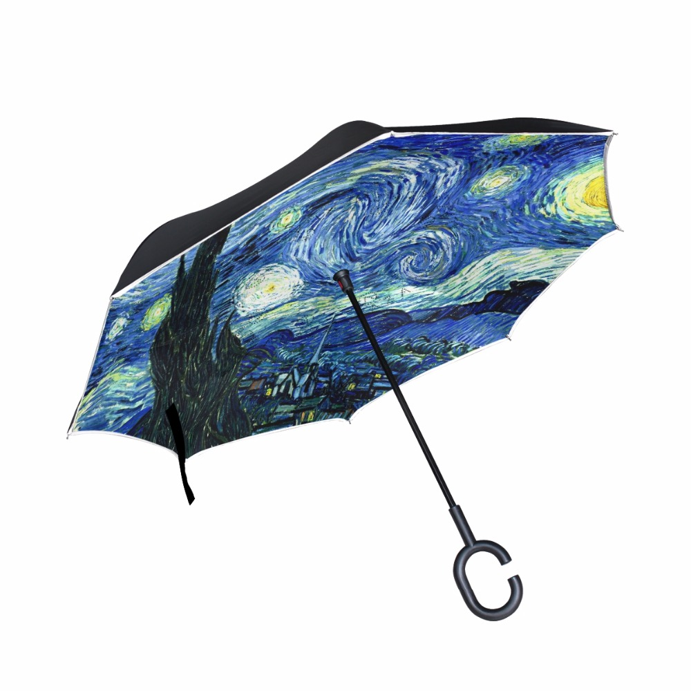 Windproof Creative Painting Starry Night Reverse Umbrella Van Gogh Oil Painting Double Layer Inverted Umbrella for CarWindproof Creative Painting Starry Night Reverse Umbrella Van Gogh Oil Painting Double Layer Inverted Umbrella for Car
