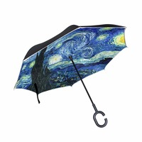 Windproof Creative Painting Starry Night Reverse Umbrella Van Gogh Oil Painting Double Layer Inverted Umbrella for Car