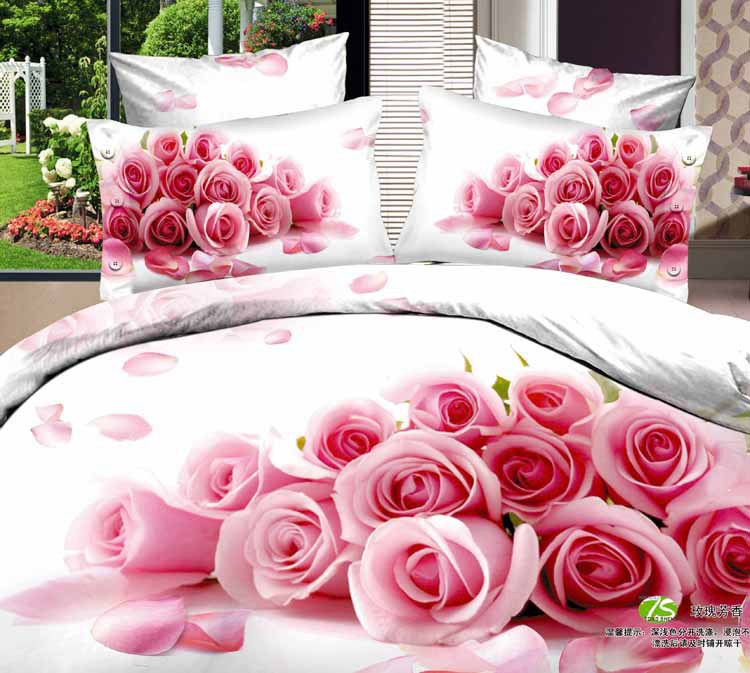 7pcs Pink Rose Flower Print Bedding Set California King Quilts Duvet Cover Ed Bed Designer Sheets Linen Cotton Queen Size