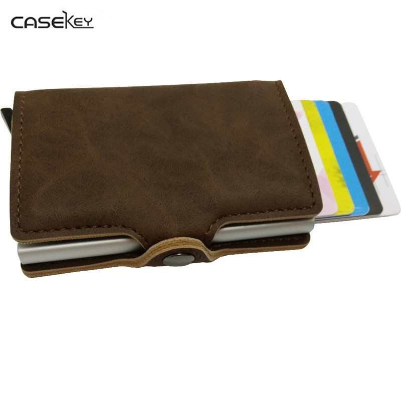 CaseKey Fashion Metal ID Credit Card Holder Black Pocket Box Business Cards Wallet With RFID Wallet Men 8 Card Position Purse