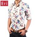 Цветочные Длинным Рукавом Мужчины Рубашки Гавайи Хлопок Повседневная Мужская Бизнес Социальные Рубашки Slim Fit Мода Дизайн Печатной Рубашки X109