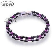 SDA Marca Cristal CZ Mano Enlace Pulseras de Cadena para Las Mujeres Purple Negro Plateado Joyería de Compromiso de Acero Stianless YM108SN