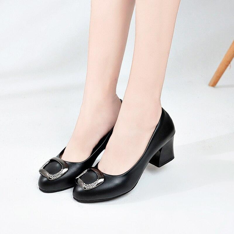 Superficial Fiesta Black Elegante Zapatos 2019 Cuero De Mujeres Suave En Resbalón Las Tacón beige Boda Oficina Cuadrado Mujer Moda 4wwITqO