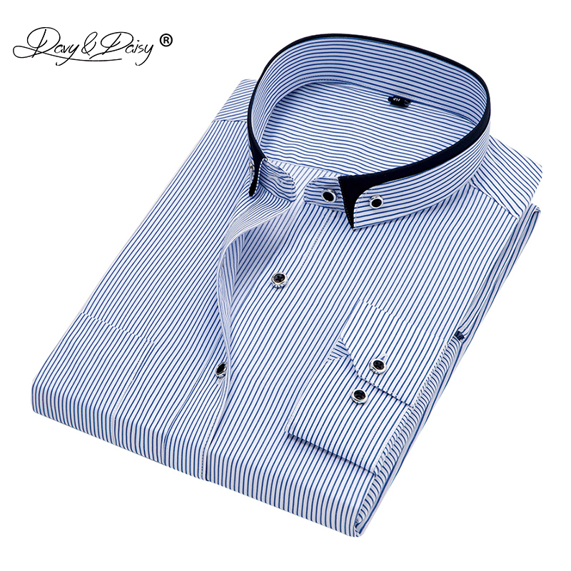DAVYDAISY 2019 New Arrival Men Shirt Long Sleeved Male Striped Formal Business Shirts Brand Work Shirt Man Party Cloths DS166