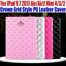 Caso elegante Para El Ipad 9.7 2017 Aire/Air2 Para iPad mini 4/3/2/1 Corona de La manera Estilo de Cuadrícula de LA PU Cubierta de Cuero para el ipad 4/3/2 IM411