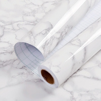 1.22x5m White&Grey Marble Vinyl Glossy Vinyl Wrap Film Waterproof Film Kitchen Table Home Office Use 48''x196.8''