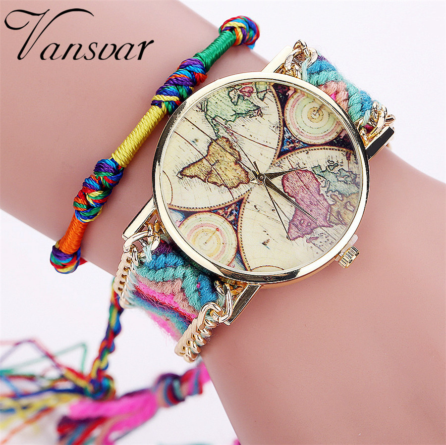 Vansvar Brand Handmade Braided World Map Friendship Bracelet Watch Rope Ladies Quartz Watch Relogio Feminino Drop Shipping 2040 mance 13colors new fashion brand handmade braided friendship bracelet watch geneva hand woven watch ladies quarzt watches reloj