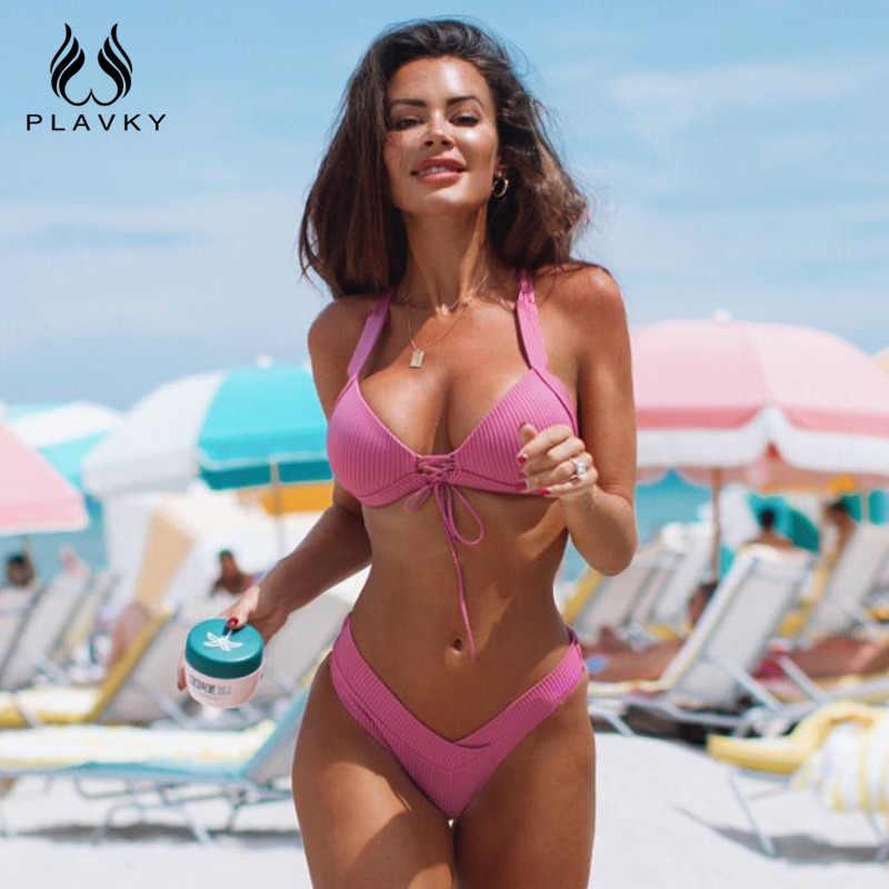 86b5eb8f60900 Sexy Ribbed Brazilian Push Up Bikini 2019 Lady Swimwear Women Swimsuit  Female Front Tie Micro Thong