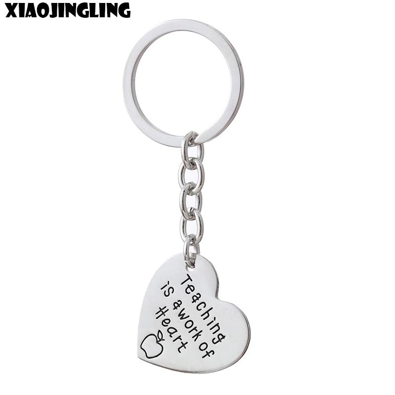 XIAOJINGLING New Trendy Keychain Heart Pendant Teaching is a Work Of Heart Key Ring Teachers Day Gift Men Jewelry Women Keyring