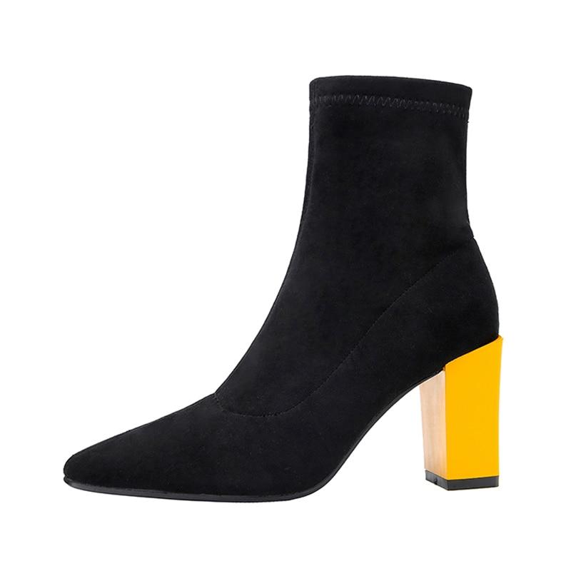 Stivaletti Talloni Tacco Invernali Zapatos Misto Alti Da Della Di De Mujer  Delle Signore Elastico Scarpe Donna ... 97e0f412857
