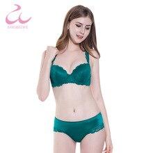 Фотография Kang&Bowie 32/34/36/38B Cup Size Green Lace Bra Panty Set Ladies Fancy Bralette Brand hot Women