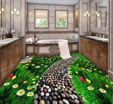 3d pvc flooring Waterproof  3d bathroom flooring lush  flowers grass natural flooring paintings photo 3d wall murals wallpaper