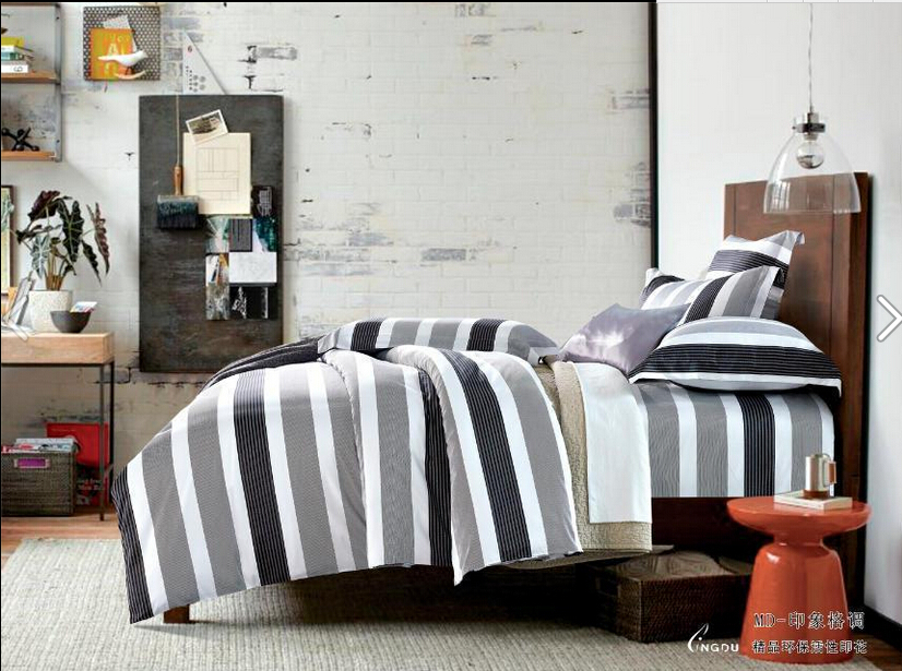 4pcs full size 3d fashion bedding gray white black blue striped bedding black and white comforter teen bedding sets comforter