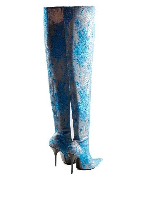 Bleue Stilettos De Hauts Genou Talons Mode Sexy Plus Lady Supérieure Show Femmes As Nouveau Bout Glissement Mince Dentelle Pointu Bottes Sur Style Fleur ZqwgREX