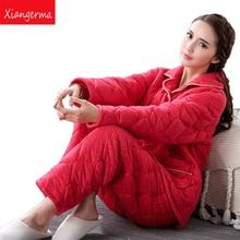 Xiangerma Autumn Winter Women Pyjamas Sets Thick Warm Suit Flannel Long Sleeve Female Pants Sleepwear Stitch