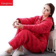 Xiangerma Autumn Winter Women Pyjamas Sets Thick Warm Suit Flannel Long Sleeve Female Pants Sleepwear Stitch Adults