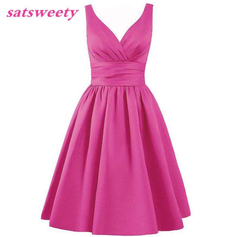 Satsweety Vlastní barva Čaj-délka V-Neck krátké Stain družičky - Šaty pro svatební hostiny - Fotografie 3