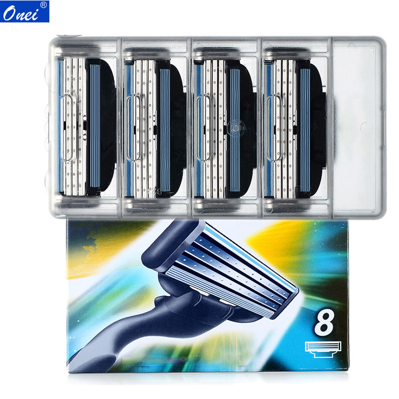 8pcs/pack Razor Blades Shaving Machine 3-Layer Safety  Manual Shaver For Gillette Mach 3 Face Care Beard Hair Remover