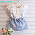 Bear Leader Girls Dresses 2016 New girls cute dress,white belt denim dress sleeveless cotton summer dress lovely girls clothes