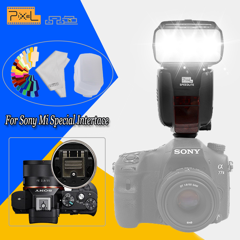 PIXEL X800S TTL HSS Shoe Mount Wireless Control Master/Slave S1/S2 External High Speed Sync Flash Speedlite for Sony A99 A7 A7II spash sl 685c gn60 wireless master slave flash light ttl speedlite for nikon lcd screen cameras flash adjustable fill light