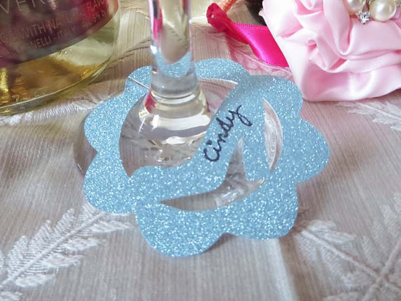 Glitter glass Slippers wine glass ring charms wedding engagement bridal  shower Bachelorette Party table decors cards 30808d49bbbe