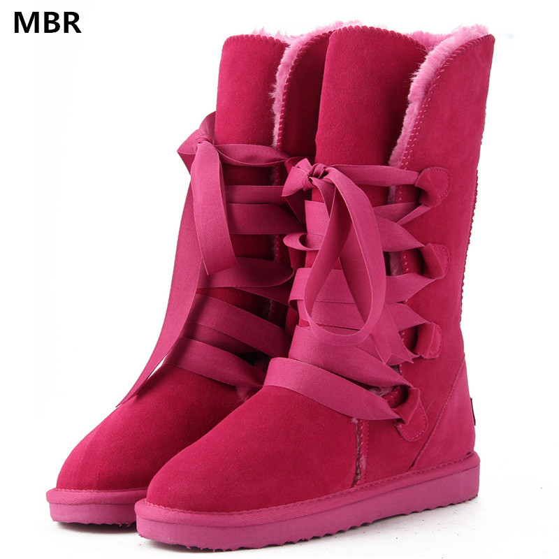 MBR High Quality Band UG Snow Boots women's winter Boot Women Fashion Genuine Leather Australia Classic Women's High Boot Winter goncale high quality band snow boots women fashion genuine leather women s winter boot with black red brown ug womens boots