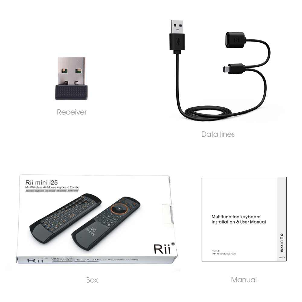 Original 3 in 1 Rii i25 2 4G Mini Wirless Air mouse Keyboard With IR Remote  Control PC Teclado For Tablet Smart Android TV Box