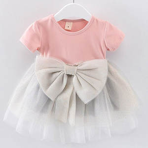 ARLONEET 2019 New summer Dress Toddler Kid Baby Girls Solid Bow Paillette Dress Tulle Tutu Princess Party Dress  Z0207