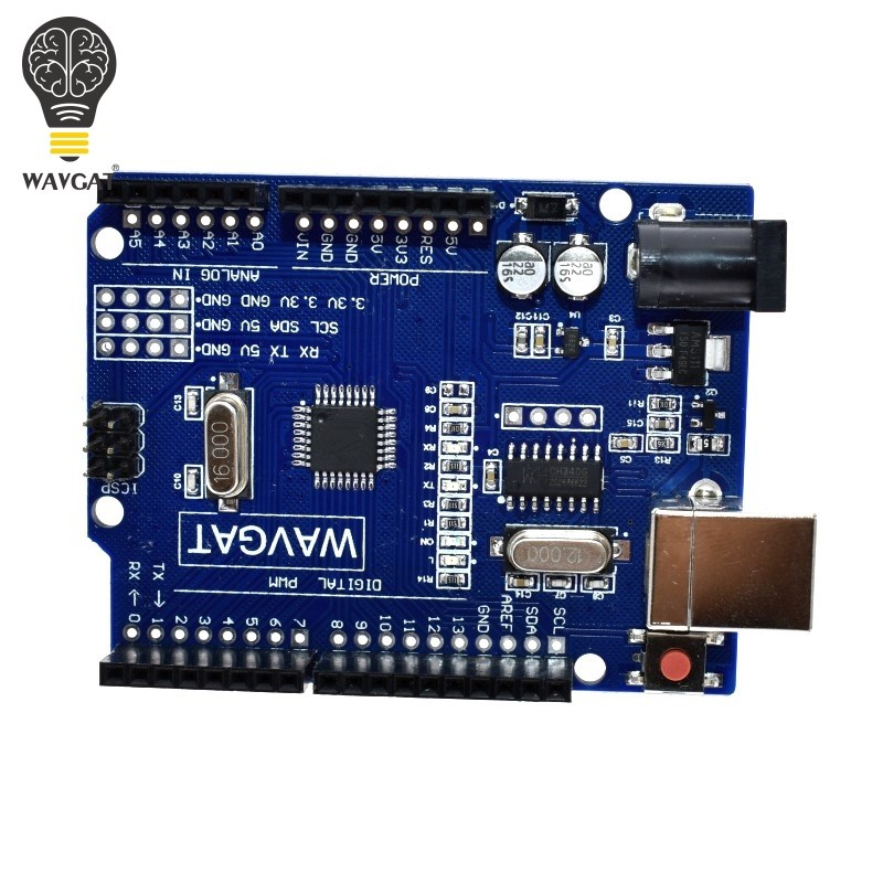 WAVGAT high quality One set UNO R3 CH340G MEGA328P for Arduino UNO R3 USB CABLE ATMEGA328P AU Development board in Integrated Circuits from Electronic Components Supplies