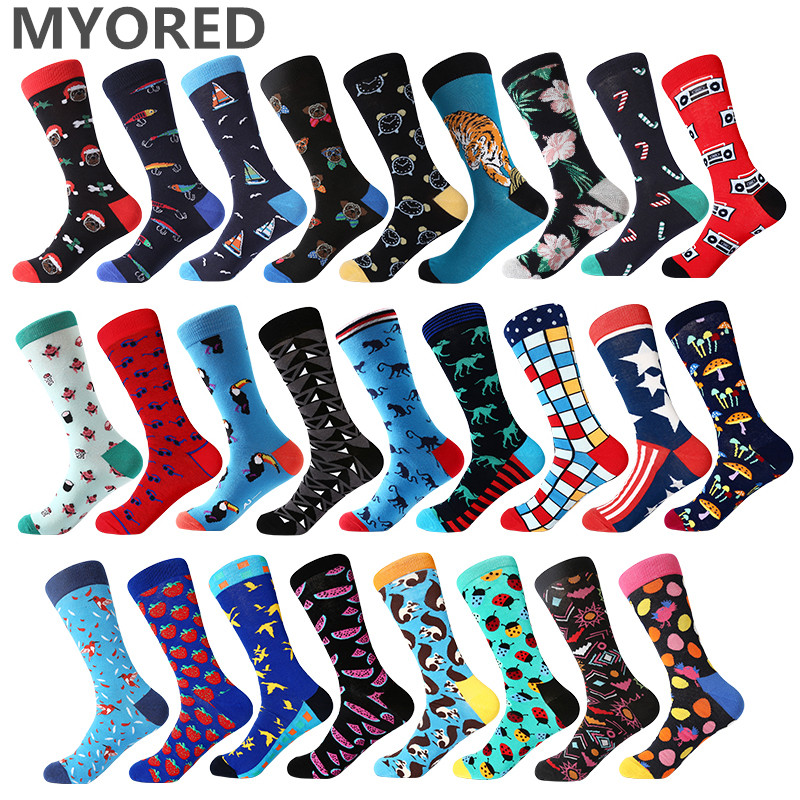 MYORED 1 pair men   socks   color combed cotton men's   socks   casual with print knitting funny cartoon animal novelty crew   socks   gift