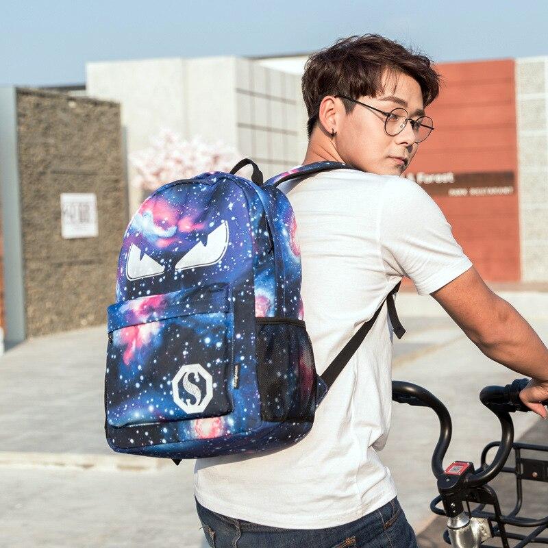 School Bag For Teenagers Anime Sequins Luminous Backpacks Luxury Teen Space Backpack Purse 2018 Men Leptop