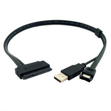"""Cablecc 2.5"""" inch Hard Disk Drive SATA 22Pin TO Esata Data + USB Powered Cable 50cm"""